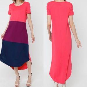 Coral Color Block Maxi Dress